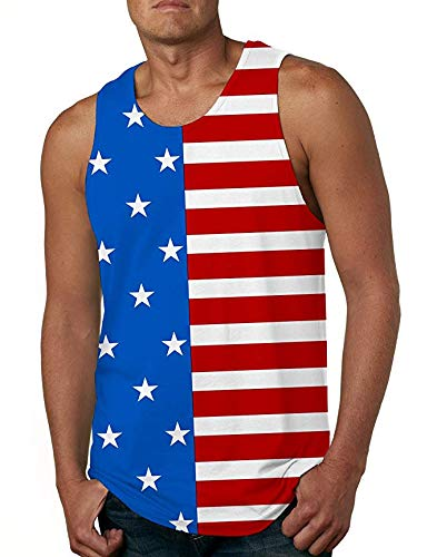 Cutemefy Men Print Stars Stripes USA Flag Tank Top Casual Sports Sleeveless Graphics Tees Vest