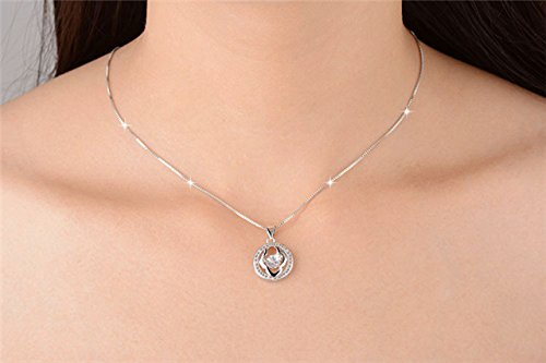 it Will be Moving Circle Necklace Pendant s925 Silver Diamond Flower Fashion Goddess Smart Pendants Send his Girlfriend Gift