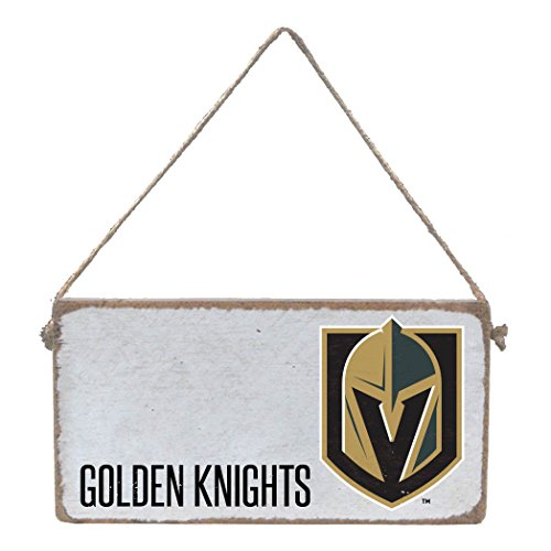 (Rustic Marlin Designs NHL Vegas Golden Knights Team, Wooden Hanging Sign, White, 11