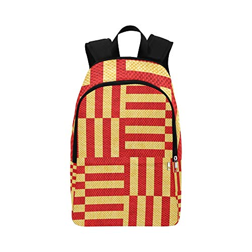YUMOING Coarse Fabric Red Gold Stripe Pattern Texture Casual Daypack Travel Bag College School Backpack For Mens And Women (Neon Shield Wall)