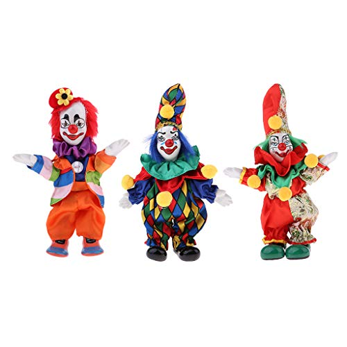 3pcs 18cm Porcelain Clown Doll with Beautiful Outfit and Ceramic Face, Gift for Clown Lover or Doll Collector, Halloween Props, Home Office Decor ()