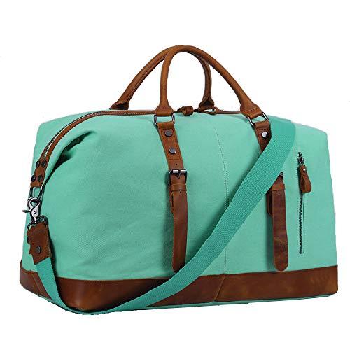 (Overnight Bag Women Ladies Travel Duffel Genuine Leather Weekender Tote (Mint)