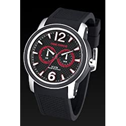 Timeforce TF4182M14 47mm Stainless Steel Case Black Rubber Mineral Men's Watch