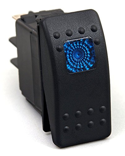 Amarine-made 12v 20 Amp Waterproof Blue LED On/off Boat Marine SPST 3P Rocker Switch with (Boat Rocker Switches)