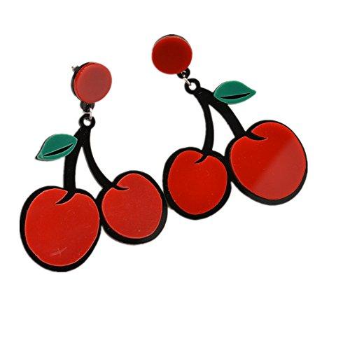 Lovely Cherry (Personality Cherry Earrings Lovely Fruit Fashion Earrings For Women Pendient Big Earrings(Cherry))