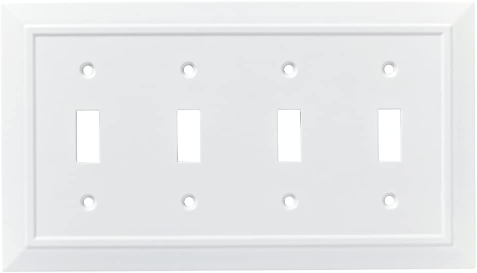 Franklin Brass W35251-PW-C Classic Architecture Quad Switch Wall Plate/Switch Plate/Cover, White