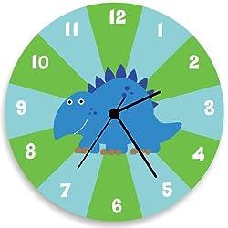 Green Dinosaur Children Wall Clocks Decorative Wood Wall Clocks for Living Room Kids Rooms Boys Nursery Wall Art Decor