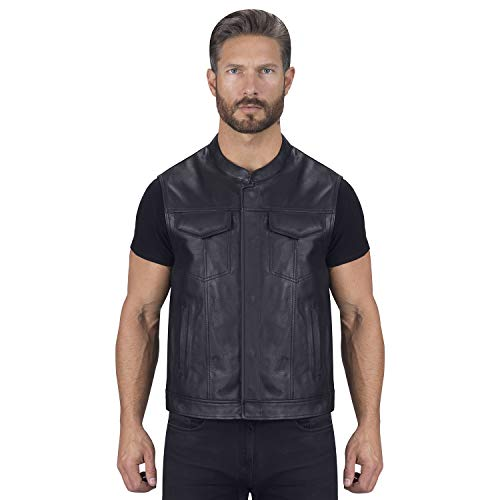 (Viking Cycle Gardar Motorcycle Leather Vest for Men (M))