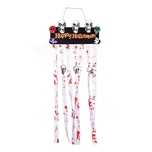 - Vipeco Skull Ghost Door Flag Banners Pennant Bunting Kids Halloween Bar KTV Decor