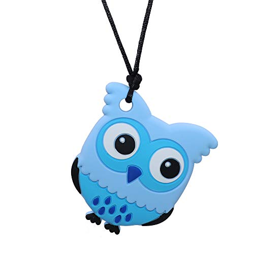 Oral Motor Aide Chew Necklace for Boys Girls Adults, Silicone Owl Chewy Jewelry for Sensory-Focused Kids with Autism or Special Needs - Calms Baby and Reduces Biting/Chewing/Fidgeting
