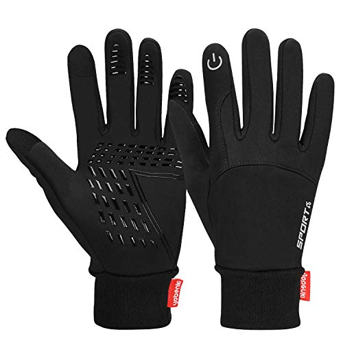 Cevapro Winter Warm Gloves, Touchscreen Gloves Cold Weather Cycling Gloves Windproof Waterproof Winter Sports Gloves for Running, Biking, Driving, Climbing, Hiking - Men & Women(Black, L)