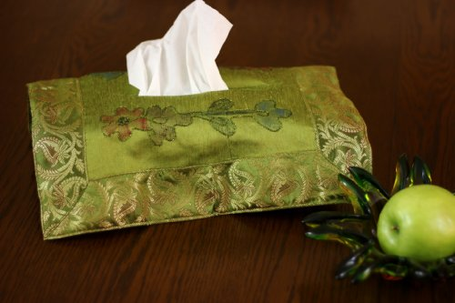 Banarsi Designs Hand Painted Deluxe Floral Tissue Box Cover (Citrus Green)