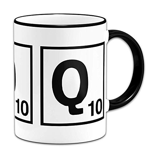 Funny Mugs Scrabble Letter - Letter Q - Gift Mug + Black Rim & Handle