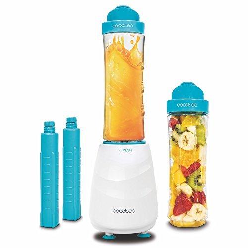 Smoothie Maker, Frullatore con Bicchiere singolo portatile con lame in titanio e 350 W 2 bicchieri da 600 ml Privo di BPA e 2 tubi frigoriferi. Pica ghiaccio. Power Titanium One di Cecotec.