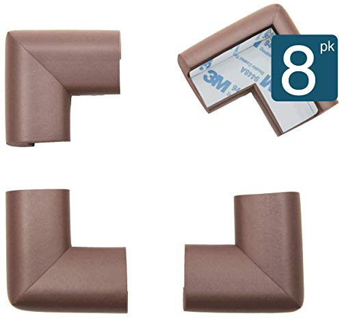 Roving Cove Corner Protector, Baby Proofing Table Corner Guards, 3M Pre-Taped, 8pc Coffee Brown