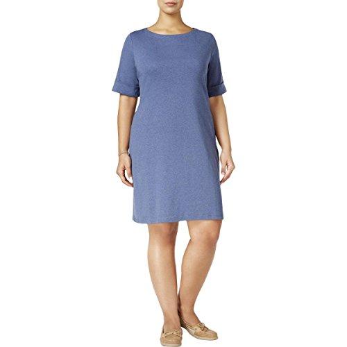 Karen Scott Womens Plus ElbowSleeves Pullover Casual Dress Blue 1X from Karen Scott