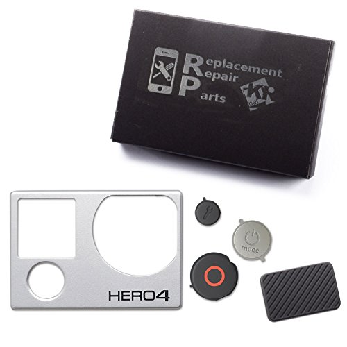 KR-NET® Front Plate Cover Faceplate Frame + USB Side Door Cover + Power Shutter Menu Buttons Keys Repair Replacement Parts for GoPro Hero 4 Silver/Black