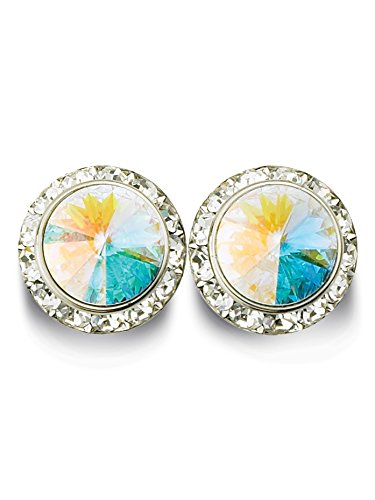 15mm Pierced Earrings with Swarovski Crystals RU027CRY Clear Crystal One-Size