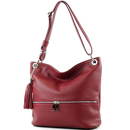en cuir de T143 d'épaule Dunkelrot modamoda en cuir sac sac épaule sac ital dames zIddtcq