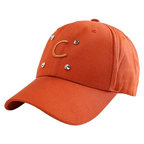 SERYU Baseball Visor Cap Unisex Ponytail Messy Buns Trucker Plain Dad Hat Orange
