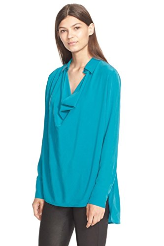 Vince Cowl Neck High-Low Silk Blouse, Bay Blue - Size (Vince Cowl Neck)
