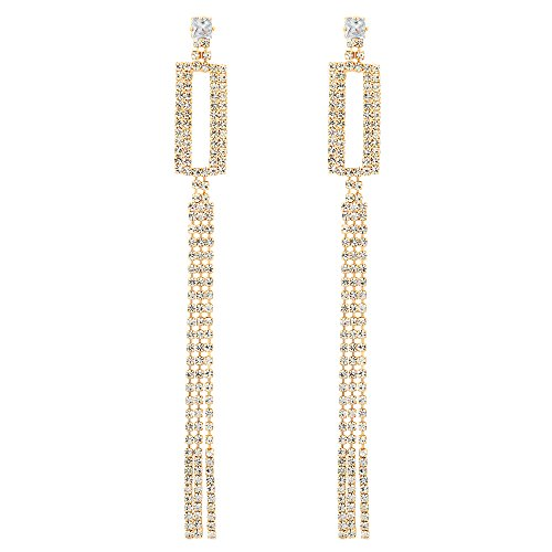 - Sparkling Party Prom Banquet Crystal Rhinestone Cluster Rectangle Long Tassel Dangle Gold Earrings