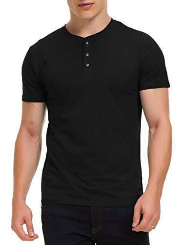 Boisouey Men's Casual Slim Fit Short Sleeve Henley T-Shirts Cotton Shirts Black L (Short Tee Sleeve Black Mens)