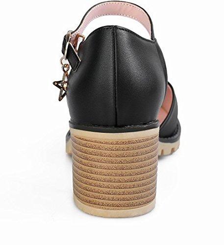 Correct Femme Talon Unie Boucle AgooLar Sandales à Cuir PU Couleur Noir GMBLB014109 80gwdHBn