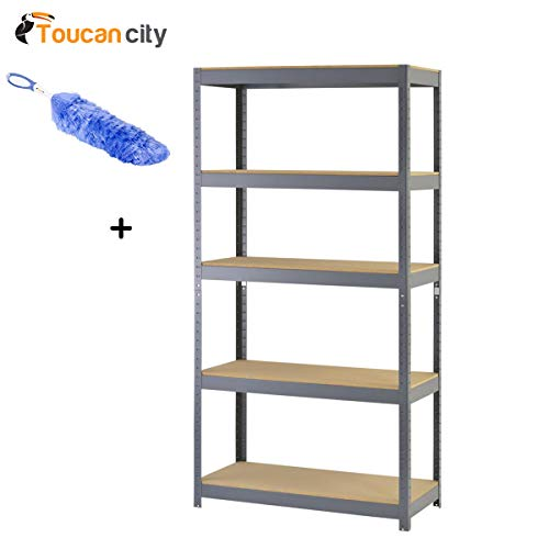 Static Duster and Muscle Rack 72 in. H x 36 in. W x 18 in. D 5-Shelf Steel Boltless Particle Board Shelving Unit in Gray SR100P-GY ()