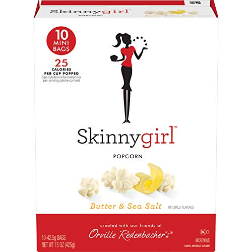 Orville Redenbacher's Skinnygirl Butter & Sea Salt Microwave Popcorn, 1.5 oz Mini Bag, 10Count, Pack of 6