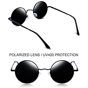 Joopin-Round Retro Polaroid Sunglasses Driving Polarized Glasses Men Steampunk (Black, Simple packaging)
