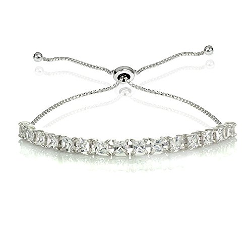 Princess Cut Line Bracelet - GemStar USA Sterling Silver 3mm Created White Sapphire Princess-cut Adjustable Bolo Tennis Bracelet