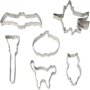 """R & M International Gift Boxed Set of Halloween Cookie Cutters with Vintage Graphics and Shapes - Set includes Six Cookie Cutters: Flying Witch, Pumpkin, Cat, Bat, Broom, and Owl Approximately 3"""""""
