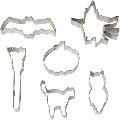R & M International Gift Boxed Set of Halloween Cookie Cutters with Vintage Graphics and Shapes - Set includes Six Cookie Cutters: Flying Witch, Pumpkin, Cat, Bat, Broom, and Owl Approximately (Pumpkin Cut Outs Halloween)