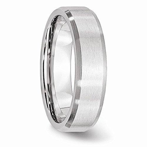 Jewelry Pilot 6mm Satin Finish Cobalt Chromium Beveled Edge Wedding Band