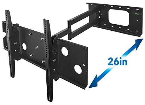 (Mount-It! Long Arm TV Wall Mount With 26 Inch Extension, Swing Out Full Motion Design for Corner Installation, Fits 40 50, 55, 60, 65, 70 Inch Flat Screen TVs, 220 Pound Capacity)
