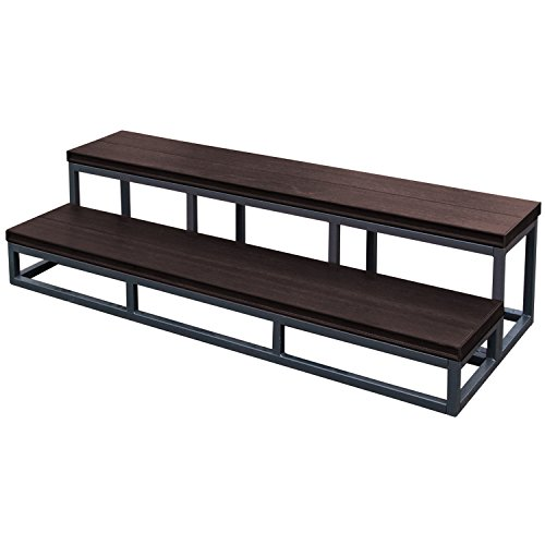 Cal Metro CM956-CSS 2 Tier Spa Step - 16 Gauge Welded Powdered Coated Metal Frame with Synthetic Wood