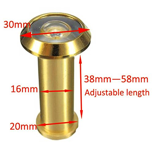 Adjustable 180 Degree Wide Angle Door Viewer Brass Scope Peephole