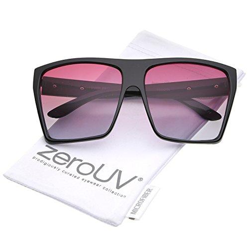 Red Accent Temple (zeroUV - Oversize Flat Top Metal Temple Accent Gradient Lens Square Sunglasses 62mm (Black / Red Gradient))