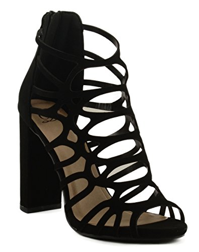 Delicious Womens Uma Cross Strapped Motif On Block Heel Sandal w/Back Zipper Black MjHA8y1