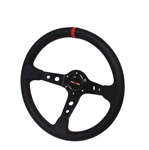 (350mm Deep Dish 6 Bolt Steering Wheel Universal Custom (Red))