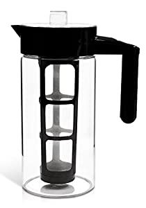 Zell Cold Brew Coffee Maker   Best Home Iced Coffee & Tea Maker with Removable Coffee Fine Mesh Filter   Strong Borosilicate Glass Cold Coffee Maker   BONUS Fruit Infusion Filter   1 Quart (1000 ml)