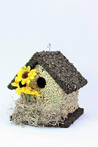 Handmade Edible Birdhouse- SHORT DARK- Unique Reseedable Bird Feeder Wooden Birdhouse Covered w/ Birdseed- Made in USA