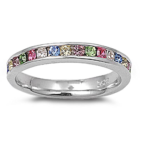 CloseoutWarehouse Multi-Color Cubic Zirconia Eternity Ring Sterling Silver Size 12 by CloseoutWarehouse