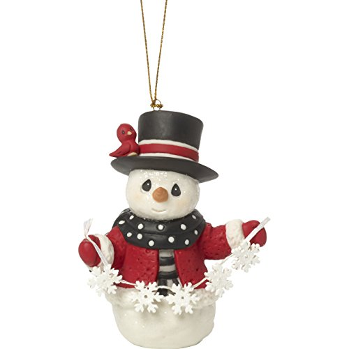 Precious Moments Holiday Christmas Bisque Porcelain Hanging Ornament with S-Hook (May All Your Christmases Be White, 171016)
