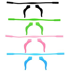 BCP Set of 4 Silicone Kid Children's Eyewear Glasses Neck Retainers Eyeglass Glasses Sunglasses Spectacle Head Safety Strap Cord Holder for Kids Children (Pink & Blue & Black & Green))