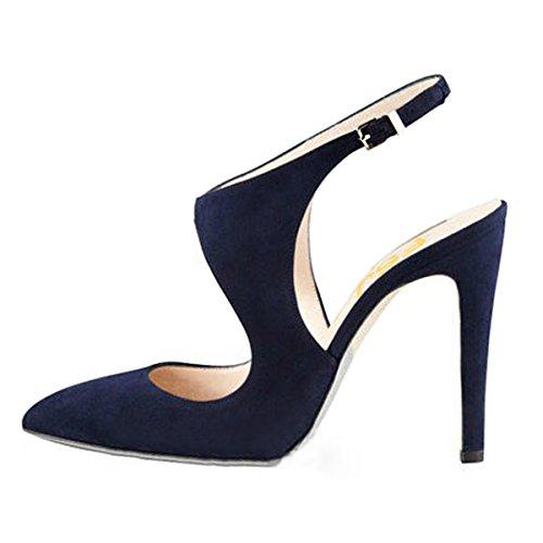Fsj Femmes Élégant Stiletto Talons Hauts Sandales Bout Pointu Boucles Pompes Parti Chaussures De Bal Taille 4-15 Us Navy
