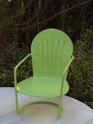 Miniature Dollhouse Fairy Garden Furniture ~ Green Metal Glider Chair ~ New -