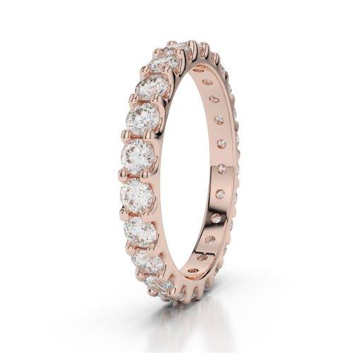Or Rose 18carats 1,15CT G-H/VS sertie de diamants ronds Cut éternité Bague Agdr-1105