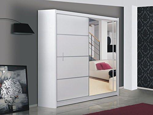 Dako armario grande con Puerta corredera y espejo, 203 cm de Ancho, Color Blanco: Amazon.es: Hogar